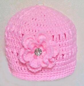 HAND CROCHETED BABY GIRLS HAT 0-2 shower gift knit romany bling diamante flower