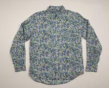 Men's BODEN Size Large Long Sleeve Button Down Shirt Floral Print Blue Cotton