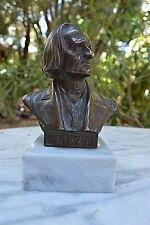 ANTIQUE BRONZE BUST STATUE FRANZ LISZT AUSTRIAN SCULPTOR HANS MULLER 1873-1937
