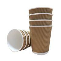 100 X 12oz / 360ml Kraft triple walled disposable paper ripple cups, 48HR DEL UK