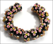 HANDMADE LAMPWORK BEADS Black Pink Orange Petal Flower