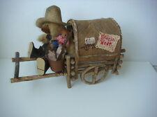 Western Cowboy Chuckwagon Handpainted W/ Dad & Son Dressed Plush Bears & Accents