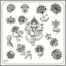 MoYou Square Stamping Art Image Plate 471 Ethnic Style, India, Flowers, Template