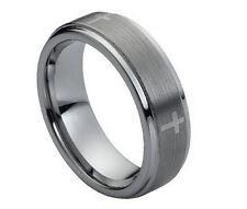7mm Men & Ladies Tungsten Carbide Step Edge With Cross Design Wedding Band Ring
