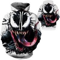 Venom Spiderman Mens Hoodie Sweater Jacket Zip Coat 3D Cosplay Pullover hooded