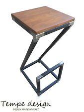Sgabello INDUSTRIALE in legno e ferro moderno soggiorno pub o bar