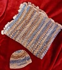 HAND MADE CROCHET BABY BOYS BLANKET AND NEWBORN BABY HAT BLUE AND CREAMS COLOUR