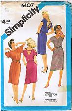80s Stretch Knit Deep V Neck Back Scoop Dress Elastic Waist Sewing Pattern Sz 12
