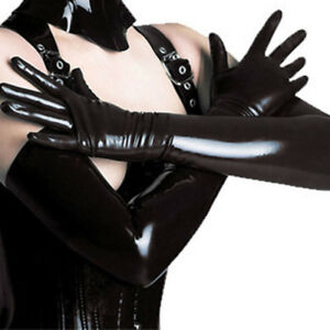 Sexy Long Latex Leather Adult Gloves Black Women Clubwear Sexy Catsuit Cosplay