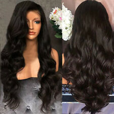 Black Long Brazilian Remy Human Hair Body Wave No Lace Front Hair Wigs US STOCK
