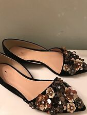 J.Crew Collection Sloan flower sequin d'Orsay flats Black Size 6 $298 E1081 NEW