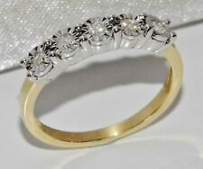 9ct Gold 0.15ct Diamond 5 Stone Ladies Ring size M