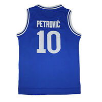 Drazen Petrovic 10 Cibona Retro Jersey European Blue Sewn Basketball Jersey