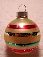 """Vintage  Glass Green Red  Stripe Christmas Feather Tree Ornament 2"""""""