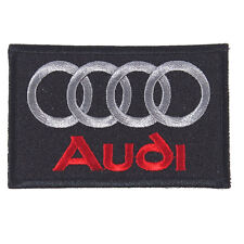 AUDI Embroidered Patch Embroidery Racing Emblem Mark 80x50mm Black