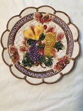 Fitz and Floyd Omnibus 1995 Plate Harvest Fruit Weave Acorn Leaves Scalloped