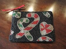 Christmas Holiday Change Purse Glass Beaded Candy Canes and Hearts Small Vintage
