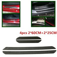 60CM+25CM Car Carbon Fiber Car Scuff Plate Door Panel Step Protector 2PCS + 2PCS