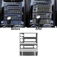 5Pcs For Chevrolet Corvette C6 Carbon Fiber Central Console Panel Cover Trim