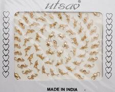 Bindi animaux dore bijoux de peau strass autocollant front big pack INH 767