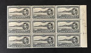 ASCENSION KGVI 1938-53 BLOCK OF 3d BLACK & GREY PERF 13½ SG42a MNH