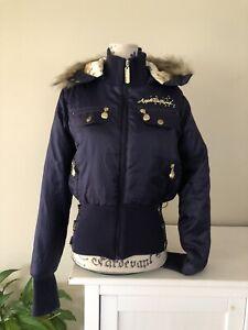 Apple Bottoms Blue & Gold Cropped Puffer Jacket. Size L. Fur Trim Removable Hood