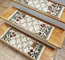 """Ivory Floral Stair Tread Set of 14 Non Slip Carpet Treads 26"""" x 9"""" Rug Depot"""