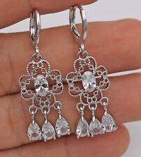 18K White Gold Filled - White Topaz Hollow Flower Chandelier Women Hoop Earrings