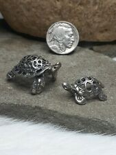 2 PIECE 9g TURTLE TORTOISE MOM & BABY MINIATURES DOLL HOUSE 800 STERLING SILVER