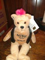 Hard Rock Cafe Beara teddy bear 2008 Detroit punk bear with ear tag