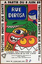 Affiche Exposition HERVE DI ROSA Trottoirs peints rue Dante 1989  *