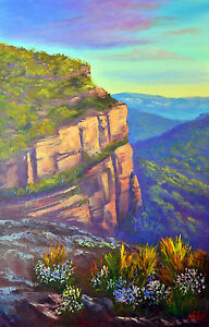 Original painting Blue Mountains Walls Lookout Mount Wilson by Chris Vidal