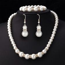 Schmuck Set Collier Kette Ohrringe Ohrhänger Bracelet Perlen Silber Hochzeit