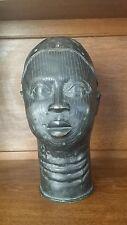 "LIFE SIZE 12.5"" TRIBAL AFRICAN CAST BENIN BRONZE IFE HEAD MASK NIGERIA"