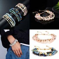 Fashion Women Crystal Multi-color Beaded Fringe Multilayer Bracelet Chain Bangle