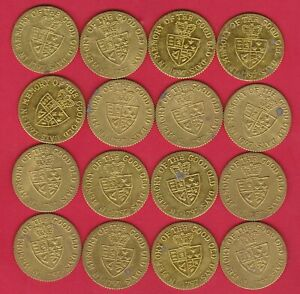 16 GOOD OLD DAYS BRASS GUINEA 1797 TOKENS IN NEAR EXTREMELY FINE CONDITION