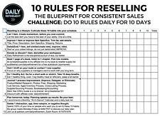 10 Rules for Reselling - 10 Day Challenge Worksheet by Daily Refinement