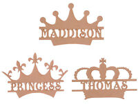 Personalised Wooden MDF Crown Craft Blank Shape Memory Box Monogram Crowns