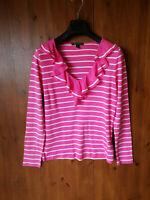 RALPH LAUREN T-SHIRT TOP Pink White Striped T-Shirt Ruffle M / UK 12 / 40 - NEW