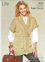 "STYLECRAFT LIFE SUPER CHUNKY EASY KNIT, KNITTING PATTERN 28, 46"" LADIES JACKET"