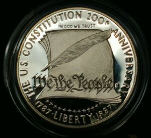 1987 S Proof US Constitution Silver Dollar