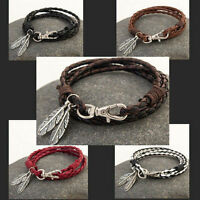 Vintage Leather Wrap Braided Wristband Cuff Punk Men Women Bangle Bracelet