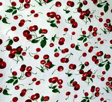 """RED CHERRIES PRINT ON WHITE POLY COTTON FABRIC 60"""" By the Yard CHERRY THEAM"""
