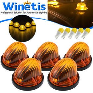 5x Cab Roof Light Marker Amber Cover + Base + LED For 73-87 Chevy GMC C/K Series