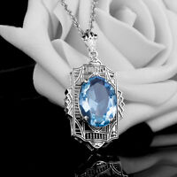 Fashion Sapphire 925 Sterling Silver Victorian Filigree Pendant birthday present