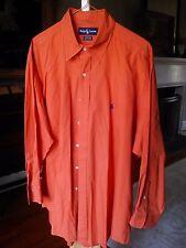VTG Mens RALPH LAUREN Orange 100% YARMOUTH Cotton XL Hong Kong 17/32-33 VGC!
