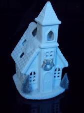 CHRISTMAS TEA LIGHT CANDLE HOLDER VILLAGE HOUSE WHITE