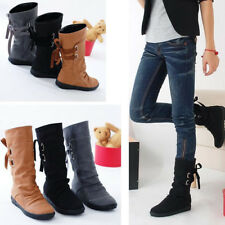 Women's Lady Winter Boot Back Lace Up Boots Mid Calf Snow Boots Flats Shoes Size