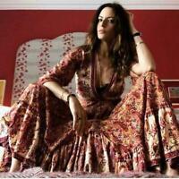 Chic Fashion Vintage Hippie Floral print Deep V-neck boho maxi holiday Dress New
