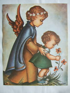 Catholic Print Picture GUARDIAN ANGEL with GIRL Religious Christian 11x14